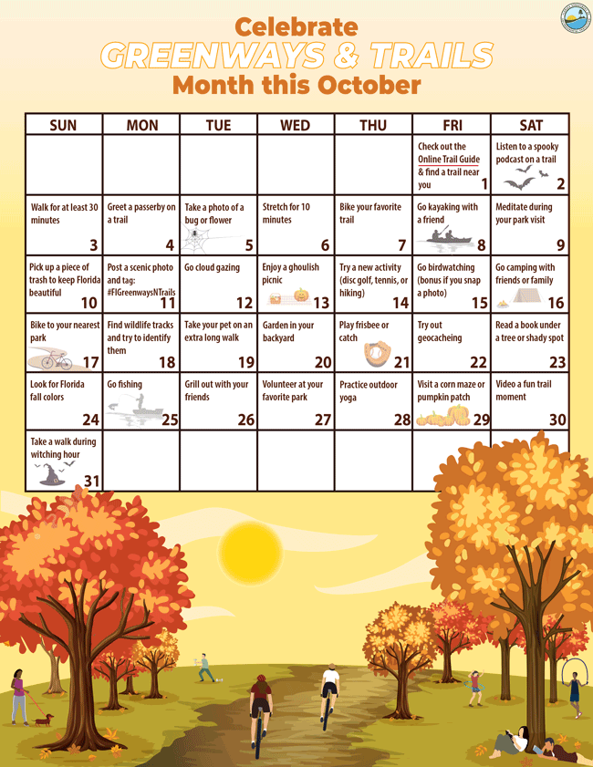 Celebrate Greenways and Trails Month Calendar this October